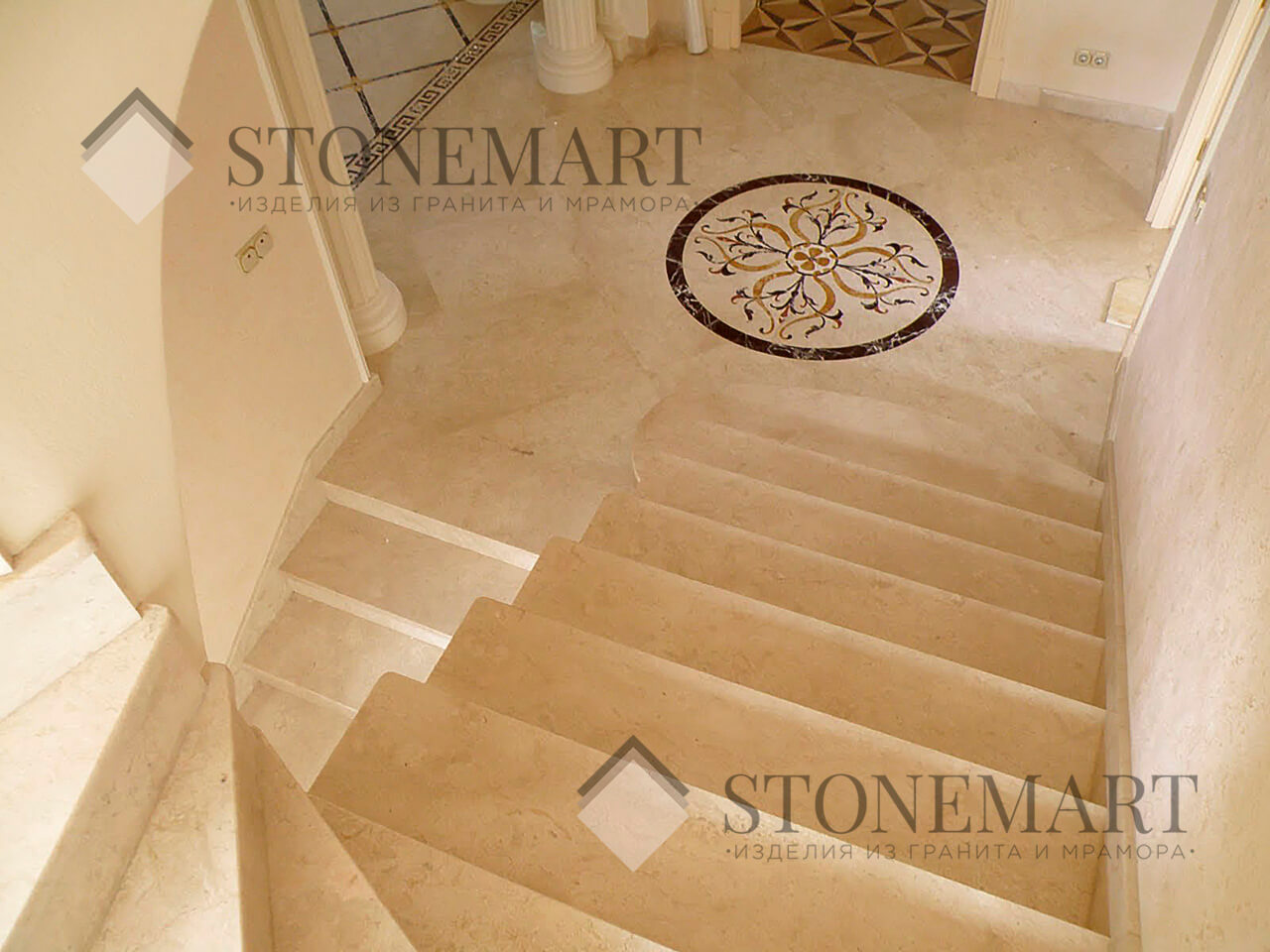 Лестница из мрамора Oasis Beige